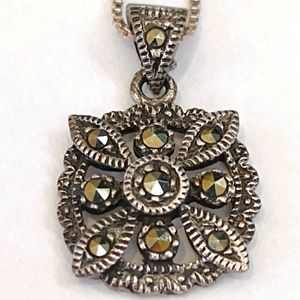 Marcasite and sterling pendant with sterling chain